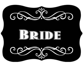 Bride' Vintage Style Photo Booth Word Prop Sign