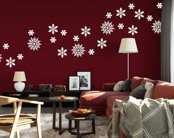 Snowflake Decals - Holiday Christmas Wall Decals of Snowflakes - Snowflake Stickers