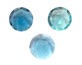Fluorite Natural Greenish Blue Fluorite Cut Stone Both Side Faceted Round Shaped 10.50 Cts 3 Pieces For Designer Jewelry (3964)