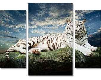 White Tiger on  Canvas,  Tiger Art style, White Tiger on Canvas Wall Art, Beautiful White Tiger   on Canvas