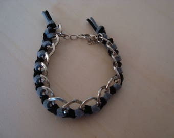 Black and gray, braided chain bracelet
