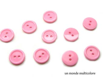 10 round 15 mm pink resin 2 hole buttons