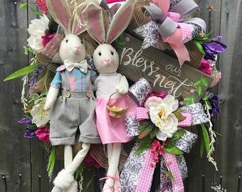 Bunny Easter Wreath, Easter Wreath, Welcome Wreath, Easter Decor, Easter Mesh Wreath, Pastel Easter Wreath, Door Decor