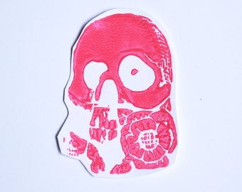 Skulls and Roses Linocut Sticker