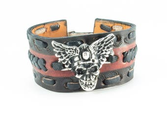 Biker Leather Cuff - Genuine Cowhide Leather Bracelet with Silver Plated Flying Skull - Biker Bracelet for Men
