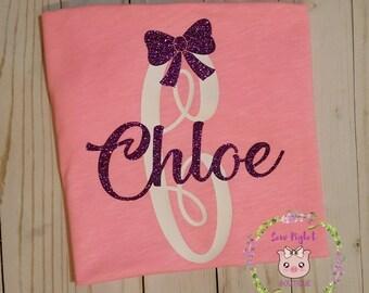Glittered Name Monogram Shirt/Glittered Personalized shirt/Girlie Shirt/Kids Glitter Girl Shirt/Girl Birthday Shirt/Cute Initials Shirt