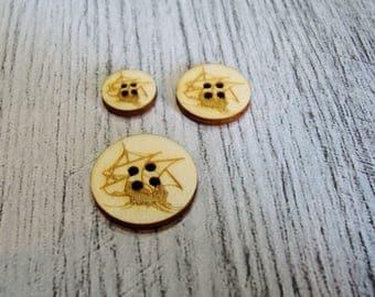 Lot 2 buttons voilier1307 embellishment wooden creations