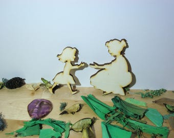 Mother and daughter 1336 embellishment wooden creations