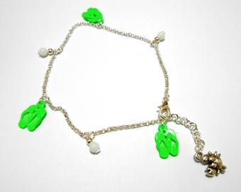 Chain ankle tong neon green.