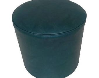 Poof plain color green leatherette dark 3035