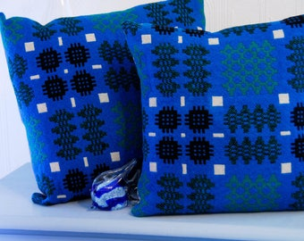 "Welsh Tapestry Cushion, 15x15"" handmade cushion, blue and green vintage welsh tapestry fabric, welsh blanket cushion, handmade in Wales"