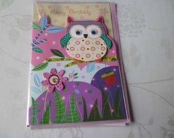 1 x double multicolored OWL/flower pattern 3D card + envelope pink 18 x 12 cm