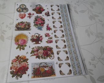 x 1 sheet of mixed stickers stickers flower glittery multicolor 30 x 21 cm