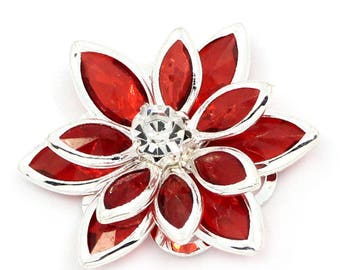 x 2 flower cabochons red rhinestone paste to create 2.3 x 2.4 cm