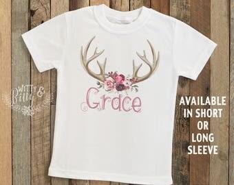 Rose Antlers Kids Name Personalized Onesie®, Customized Kids Shirt, Rustic Kids Tee, Boho Kids Tee, Personalized Kids Shirt - T231G