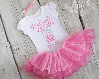 Stealing Hearts Outfit in Pink, Valentines Day Outfit, Pink Tutu Outfit, Shirt Headband Tutu Outfit - C399S