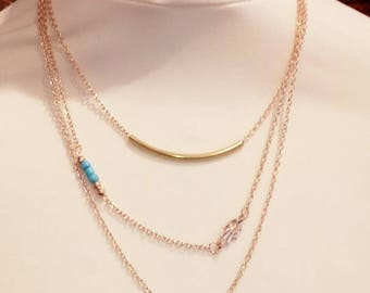Gold and turquoise multi strand necklace