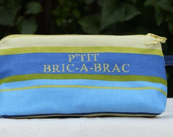 """fancy embroidered blue striped canvas Kit """"P' little BRIC A BRAC""""lined """""""