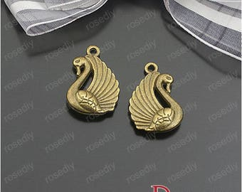 10 bronze 23 * 15MM D24783 Swan charm