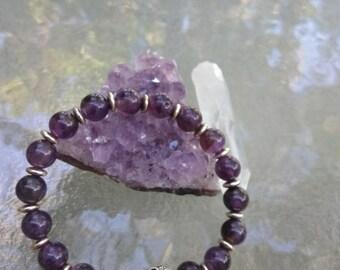 Amethyst Buddha Charm Bracelet , Yoga Jewelry , Yoga Bracelet ,Chakra Jewelry , Crown Chakra Stones and Crystals