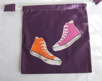 Slippers for school kindergarten in aubergine cotton converse pink and orange bag applique