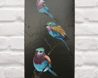 Lilac Breasted Rollers Acrylic on Slate (Made to Order)