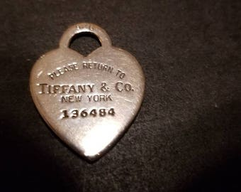 Please Return to Tiffany & Co. New York Vintage .925 Sterling Silver Heart Pendant.