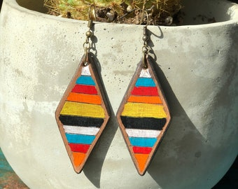 Serape Collection Darcy Earrings | Leather Earrings | Birthday Gift | Anniversary | Gifts under 25 | Handmade | Gifts for Her