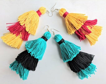 Three Tiered Tassel Earrings Bermuda Blue black Wine Red Yellow Light Blue Boho Chic Earrings Handmade Cotton Tassel jewelry Gift for her