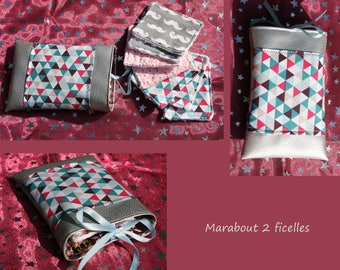 Faux leather pouch and a lot of lingettes_moustaches geometriks