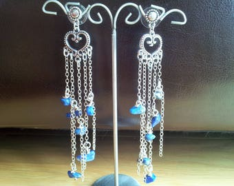 Earrings silver filaments and Navy blue stone