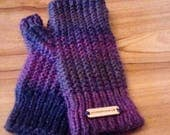 Purple Hand Knitted Fingerless Gloves - Hand Made Hand Warmers