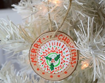 Christmas Mandala Hand painted Wooden Christmas Ornament