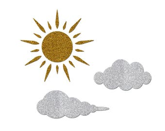 Lot of Sun and clouds in Thermo flex gold and silver glitter