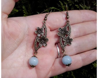 Navy Pearl aquamarine earrings