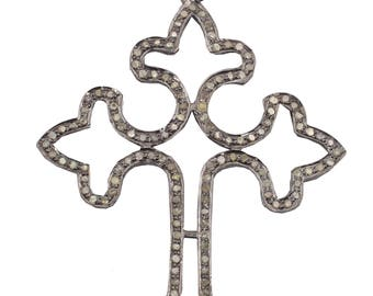 Pave Diamond Pendant, Cross Pendant, Cross Diamond Pendant,92.5 Silver Pendant