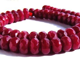8 rubis Abacus à facette de 8x5 mm perle pierre rouge.