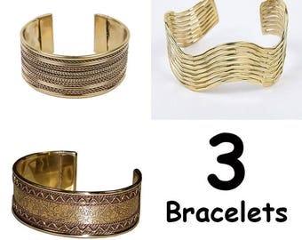 3 bracelets gold plated brass