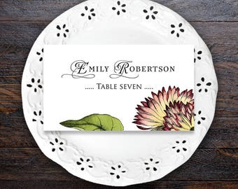 Gerbera Wedding Place Cards Printable Editable Name Cards Garden Wedding Escort Cards Floral Place Cards Template Rustic Wedding Place Cards