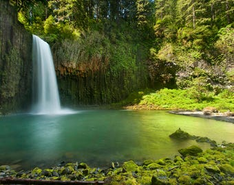 Waterfall photo, Waterfall Photography, Abiqua Falls Oregon photography, Fine art, Landscape, Nature, Instant download digital photo