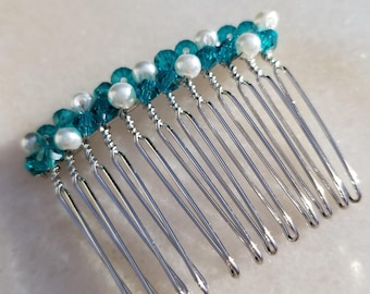 Crystal hair comb, pearl hair comb, turquoise hair comb, prom hair comb, bridesmaid hair comb, flower girl hair comb, bridal hair comb