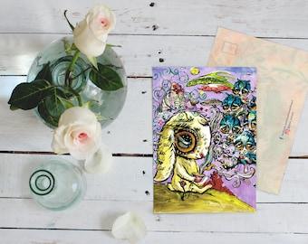 Instant Downloadable Postcard, Tea party, Surreal art, Fantasy, Post crossing, Digital Postcard, bunny, Pop art, Friends, Double-sided