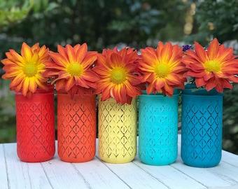 centerpiece mason jar painted distressed. Orange, yellow, turquoise, festive, choose 3