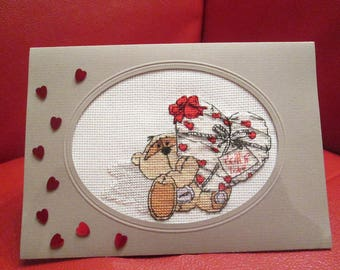 Embroidered love card or Valentine's Day card