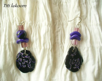 "Earrings ""Esméralda"" made of polymer clay black and purple"