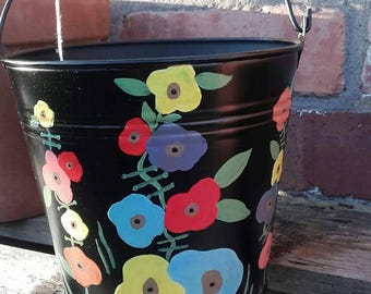 Hand painted metal bucket planter