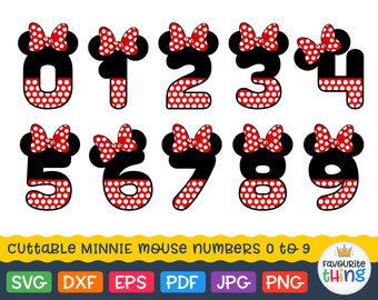 Polkadot Numbers Svg Birthday Numbers with Minnie Mouse Bow Svg Dotted Number 0 1 2 3 4 5 6 7 8 9 Svg Cut Files for Cricut Dxf Silhouette