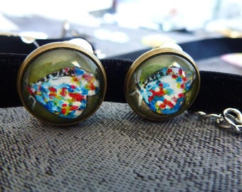 non-pierced, clip earrings, pins, paint cabochon, butterfly, women gift, antique bronze