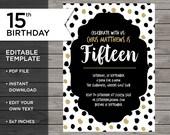 15th Birthday Invitation,...