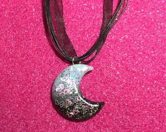 Black and blue moon necklace